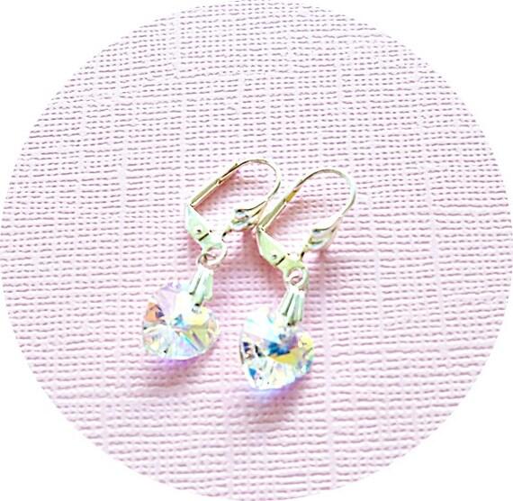 Crystal Earrings, Hearts, Heart Jewelry, Heart Earrings, Wedding, Austrian Crystal, Dangle Earrings, Sparkly Earrings, Valentines Day