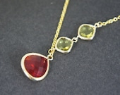 Ruby red lime green gold necklace, bridal gift, gold chain