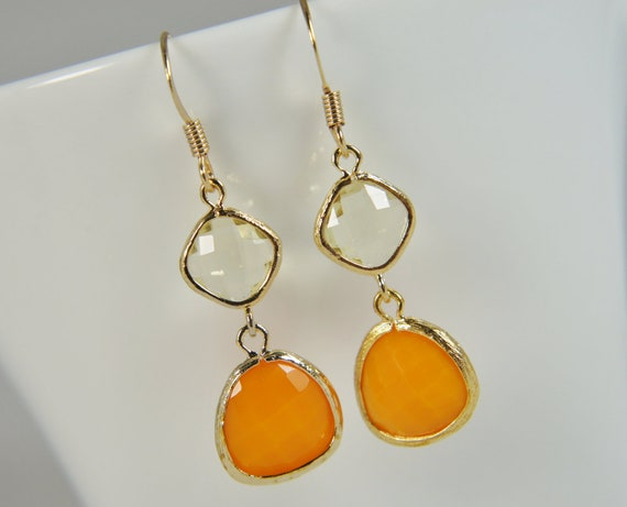 jonquil yellow orange gold earrings, wedding, bridal gift,