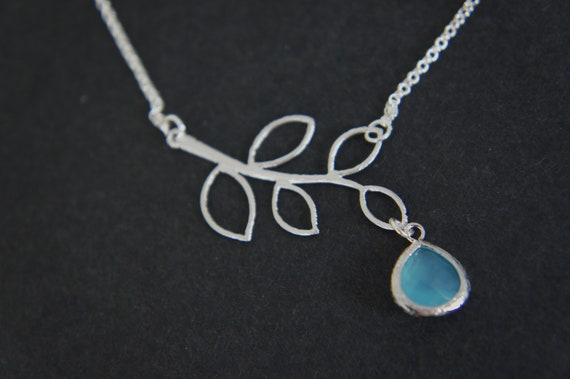 silver branch necklace with blue gem, leaf, bridesmaids, wedding, gift, silver chain