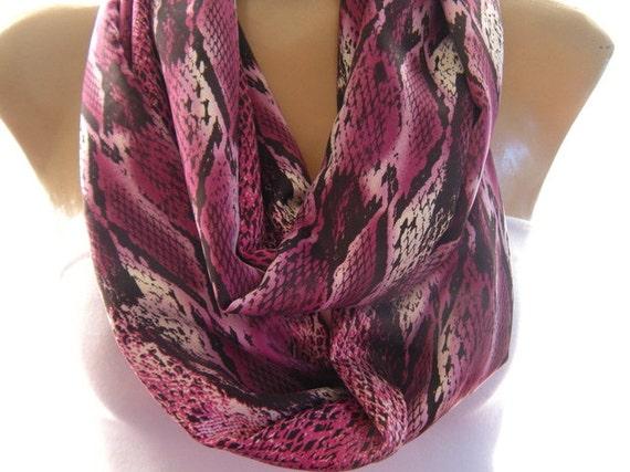 Last one..Purplish Pink  Snake Skin.....Fluid Satin....Necklace scarf..Infinity scarf..Tube version
