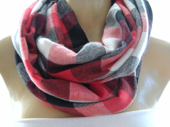 Casual Plaids...Warm Flannel....Black, White and Red ..Mobius scarf...Infinity Scarf..