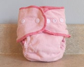 Fitted Preemie Newborn Cloth Diaper- 4 to 9 pounds- Basic Pink - Set of 5- Bulk Discount- Made to Order