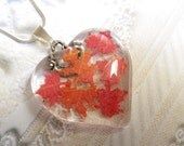 Falling Leaves-Glass Heart Pendant With Miniature Maple and Oak Leaves Cut From Real Autumn Oak & Maple Leaves-Symbol for Canada