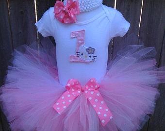 Candy Pink  & White Hello Kitty 1ST Birthday Tutu Set