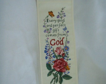 Needlecraft Cross Stitched GOD'S GARDEN BANNER Complete