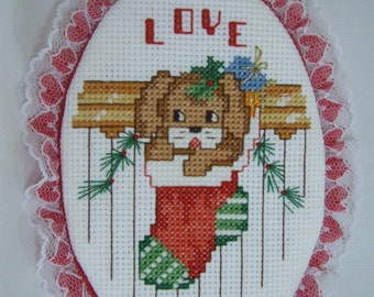 Cross Stitched  PUPPY IN STOCKING Christmas ornament