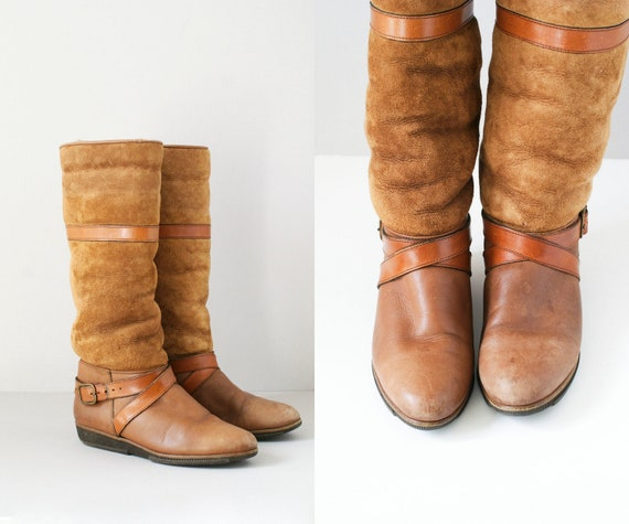 leather boots / 70s suede shearling boots / Ochre Brown fall boots