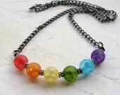 Rainbow Crackle Quartz Gunmetal Necklace Unisex