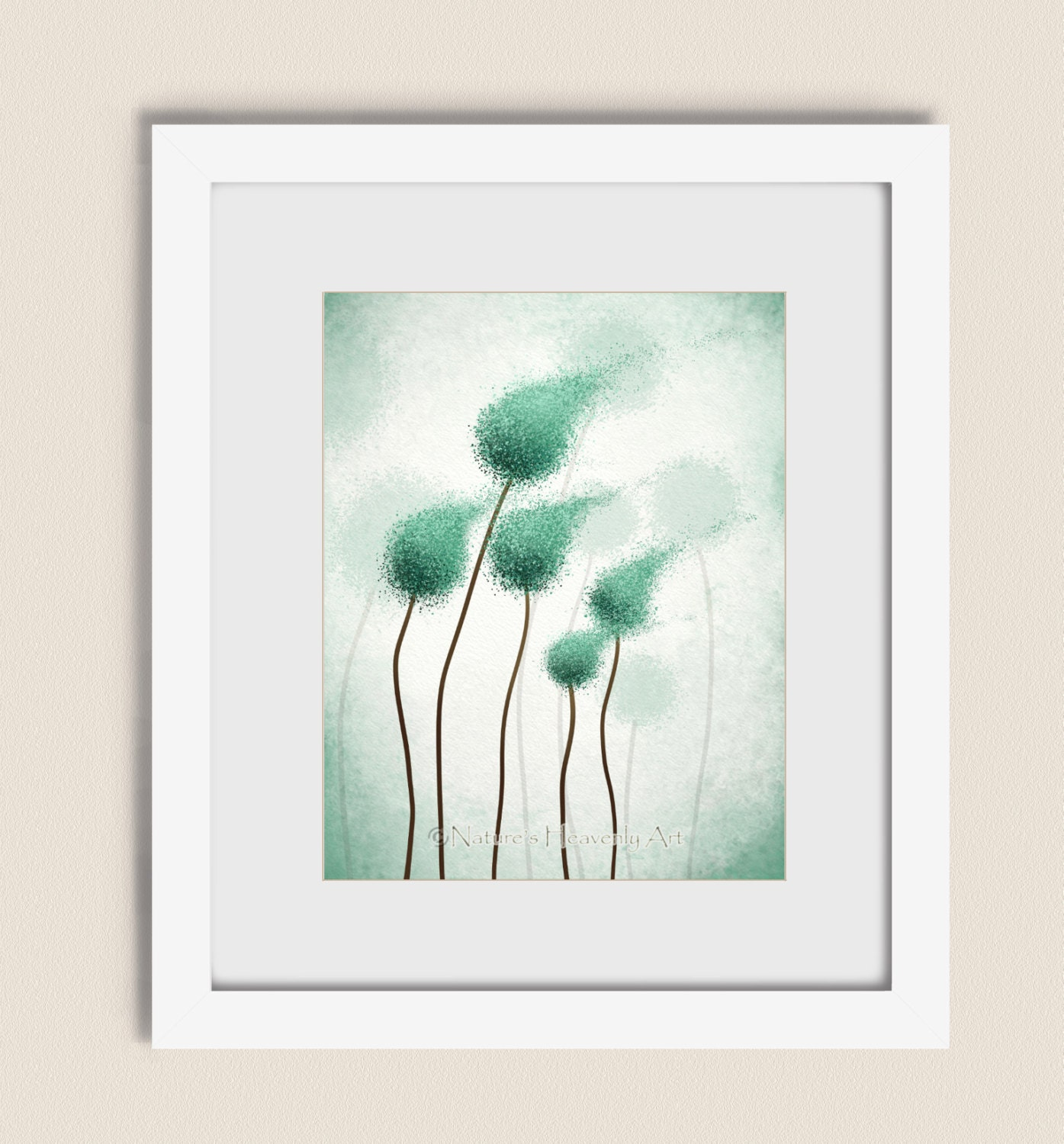 Teal Green Wall Decor : Teal abstract round tree wall art print blue green