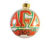 Handpainted Alpha Gamma Delta Clear Glass Ornament Ready to Ship