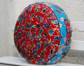 Great for Lounging Red Otomi with Blue Bloom  Oilcloth Pouf