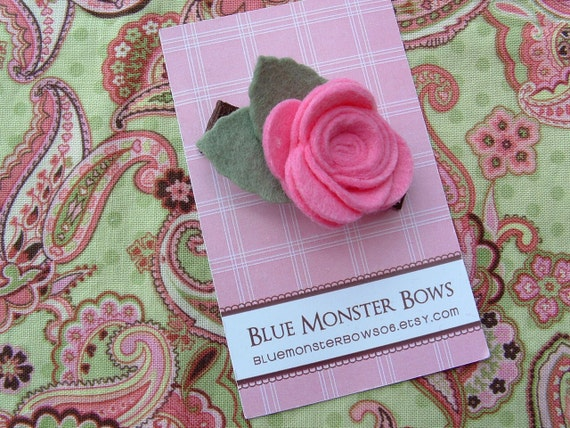 Rebecca Cotton Candy Pink Felt Rose Hair Clip FREE SHIPPING On Additional Items
