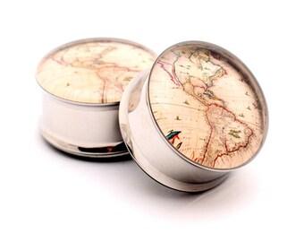 Antique Map Picture Plugs gauges - 16g, 14g, 12g, 10g, 8g, 6g, 4g, 2g, 0g, 00g, 7/16, 1/2, 9/16, 5/8, 3/4, 7/8, 1 inch