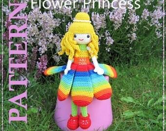 ENGLISH Instructions - Instant Download PDF Crochet Pattern Flower Princess