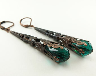 Copper Earrings Emerald Green Steampunk Jewelry Long Dangle Earrings Victorian Steampunk Jewelry Filigree