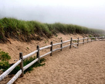 Beach Dunes and Fence, Coastal Photography, Fog, Acadia, Maine, Sand and Grass, 11X14 Mat, Ready to Frame, Wall Art