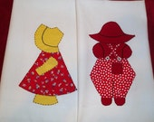 Pair Appliqued Dish Towels, Boy and Girl Appliqued, Cannon Dish Towels, 1960s, Country Kitchen