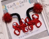 Itty Bitty Ladybug Antennae Hair Bow Clips - Red and Black Polka Dots - Birthday Costume - Ladybug Hair Bows