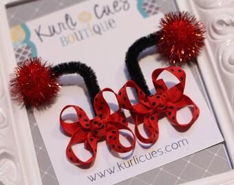Itty Bitty Ladybug Antennae Hair Bow Clips - Red and Black Polka Dots - Birthday Costume - Ladybug Hair Bows