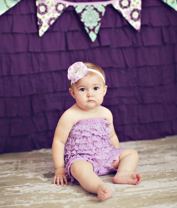 You Pick Size. Chicaboo Lavender Ruffled lace petti romper / bloomer. Sizes for ages newborn to 4/5 years. More Colors available