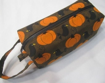 Halloween Ravens on Pumpkins with surprise embroidery inside - Cosmetic Bag Makeup Bag LARGE