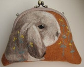 Felted wool bags and purses, with dog's portrait on one side, especially for pet lovers