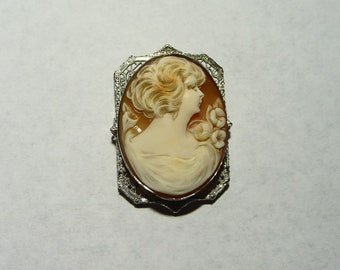 Vintage 10K Gold Deco Cameo on Etsy