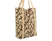 Cherry Blossom Print Cotton Tote with Beige Lining