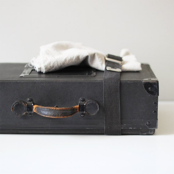 vintage mailing cardboard case / black storage suitcase