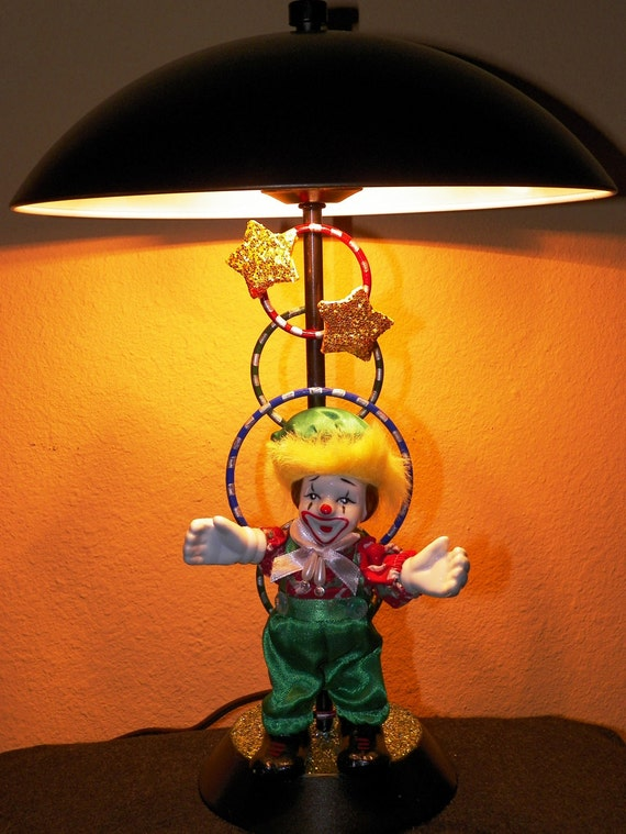 Clown Lamp - Upcycled Table Lamp - Desk Lamp - Metal - Handpainted And Assembled - Circus - Carnival - Themed Decor - OOAK