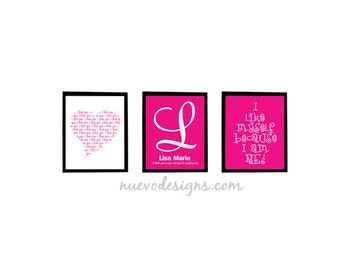 Pretty in Pink Personalized Child's prints in set of 3 - 8x10 prints