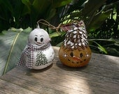 Painted Gourd Snowmen Christmas Tree Holiday Ornaments