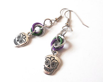 Sugar skull earrings, Dia de los Muertos, Chainmaille, Day of the Dead jewelry, Purple and green