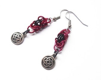 Celtic knot earrings, Red and black, Byzantine chainmaille weave, Irish jewelry