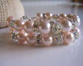 Pale pink pearl and rhinestone wedding bling bracelet, pearl cuff bracelet, wedding jewelry, wedding cuff