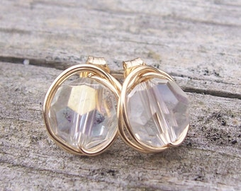 Crystal and gold wire wrapped stud earrings