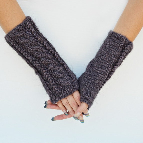 Arm warmers fingerless gloves purple