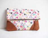 Fold Over Clutch / Washi Triangles with Suede Corners