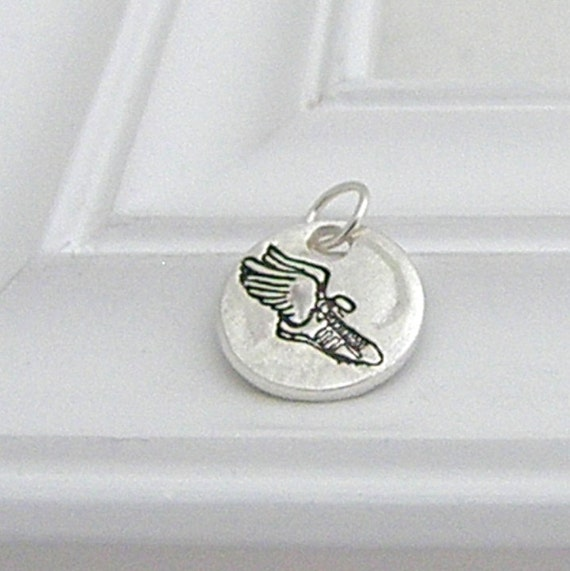 Track and Field Charm - Hand Stamped Silver on Etsy