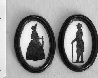 2  VICTORIAN SILHOUETTES Handmade dolls house miniature PICTURES 12th scale