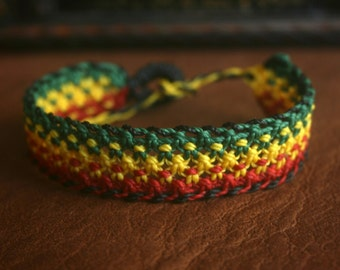 Small Rasta Macrame Bracelet