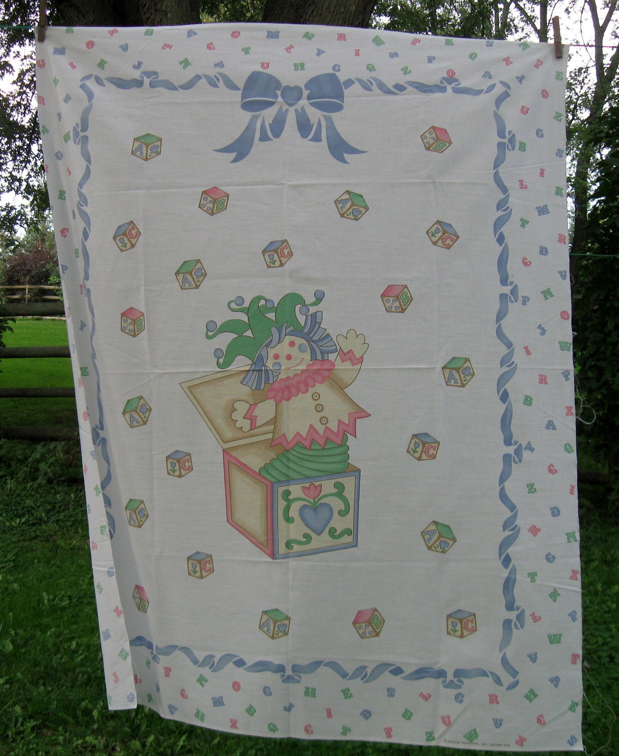 Vintage Baby Quilt Panel Fabric Panel Crib Jack In The Box