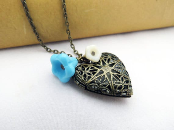 Heart Locket - Cream and Blue Flowers, Antiqued Brass