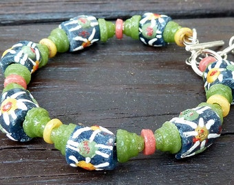Blue Recycled Glass Bracelet - Blue Recycled Glass Beads, Bangle Bracelet, Olive Green