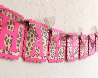 Pink & Leopard Print HAPPY BIRTHDAY and NAME Banners - Personalize your birthday banner - Birthday Decor