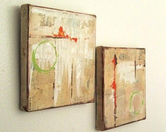 SALE Modern Abstract Painting Mixed Media Set of Two