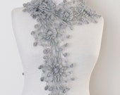 Gloria Crochet Scarf-Gray-Ready for shipping