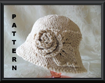 Knitted Hat Pattern Instant Download Hat Pattern Bonnet Pattern Knitting Pattern for Brimmed Baby Hat Rose: PINK or IVORY Rose BRIMMED  Hat