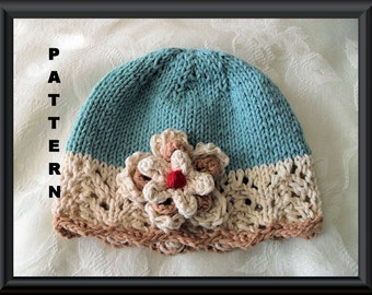 Baby Hat Pattern Knitted Hat Pattern Newborn Hat Pattern Infant Hat Pattern Baby Hat with Flower Knit Hat Pattern: REAL TEAL CLOCHE